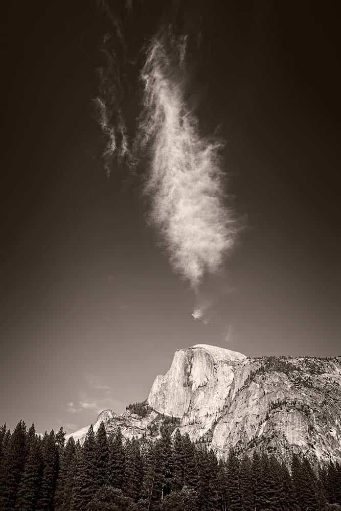 Cloud above Half-dome in Yosemite National Park.