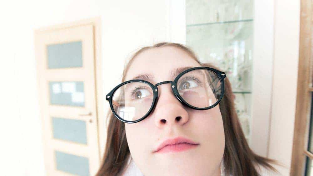 A girl in a humorous self-portrait.