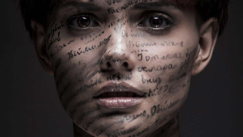 Using words in a self-portrait.