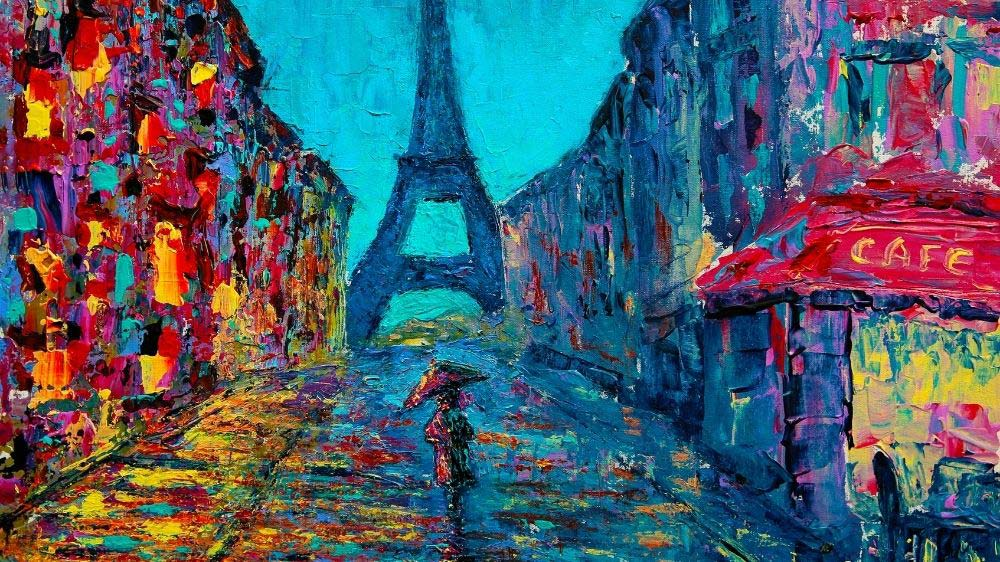 An example of a fine art painting of Paris, France.
