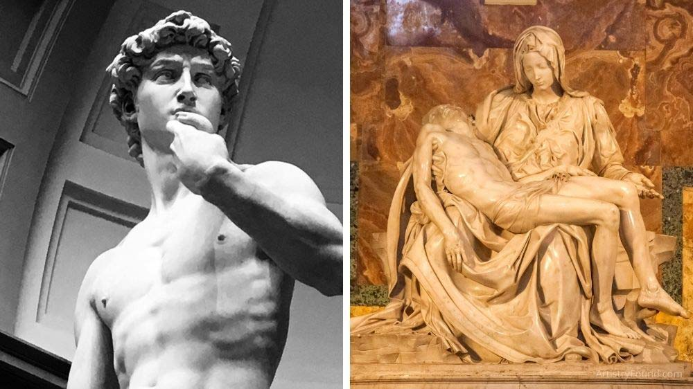 David and Pieta are famous examples of subtractive sculpture.