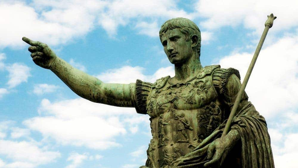 This bronze sculpture of Emperor Caesar in Rome is an example of a freestanding sculpture.