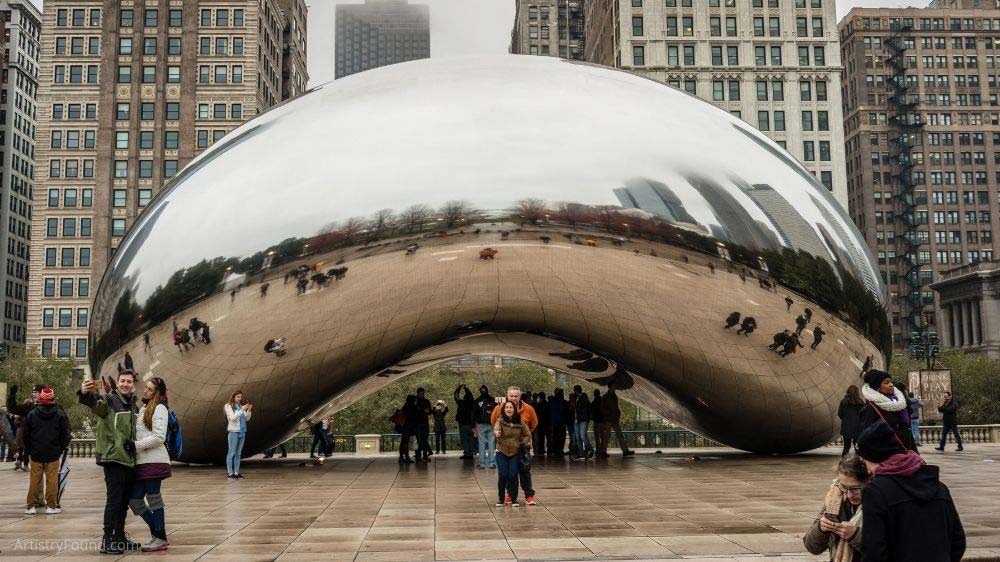 Cloud Gate aka The Bean in Chicago is another example of a sculpture in the round.
