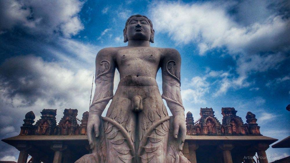 Lord Bahubali in Kamataka, India is a 57-foot tall subtractive sculpture carved from a single rock.