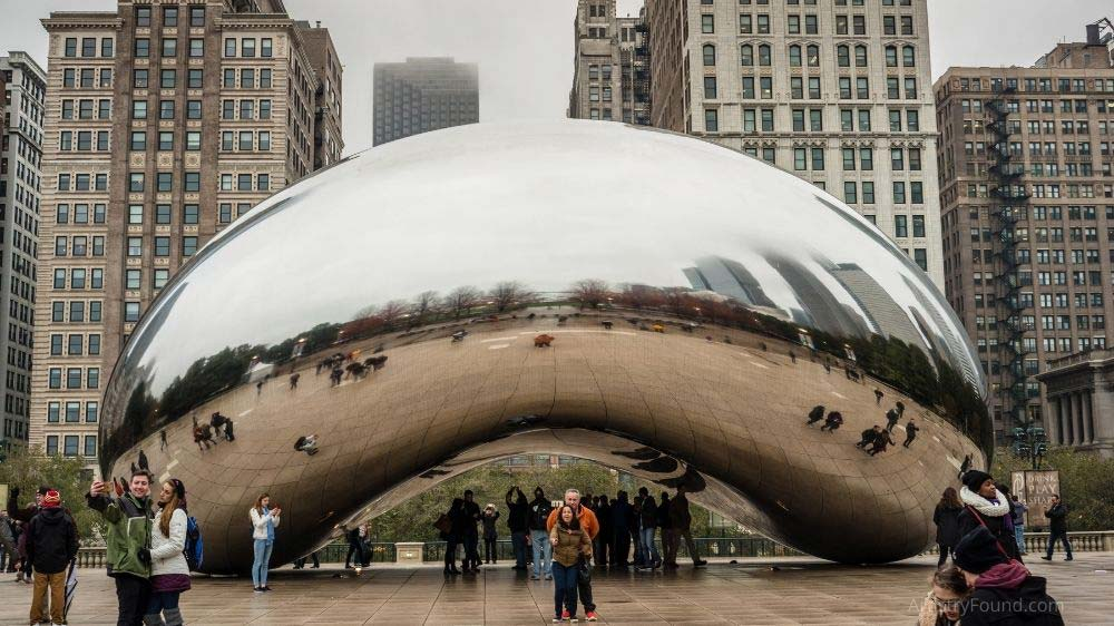 Cloud Gate (aka The Bean) is a famous sculpture in downtown Chicago.