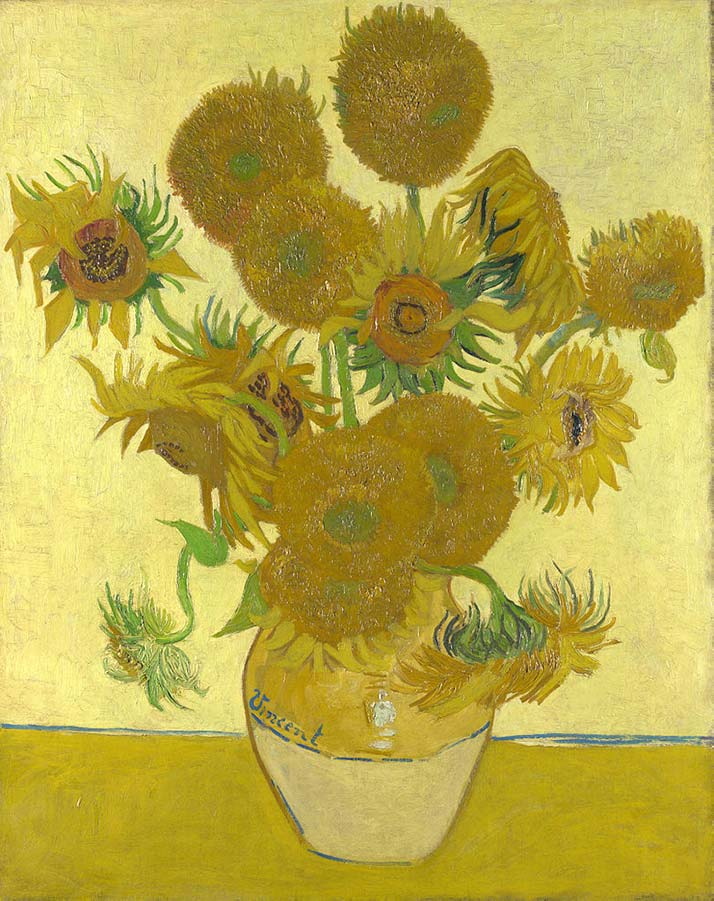 An oil painting of a vase of sunflowers by Vincent van Gogh.